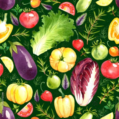 Fototapeta Seamless pattern with watercolor vegetables on green background