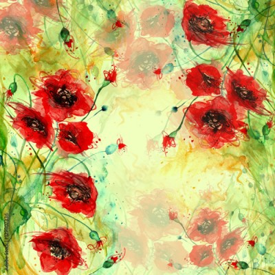 Fototapeta Watercolor red poppy flowers. Painting, hand drawing, paint splash. Beautiful vintage card, invitation, announcement, frame with place for text. A series of works.