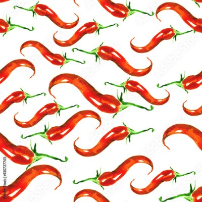 Fototapeta Red Hot Chili Pepper. Seamless Vintage watercolor pattern. Red and green vegetables