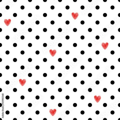Fototapeta Polka dot seamless pattern with red hearts. Valentines Day design. Romantic vector background.