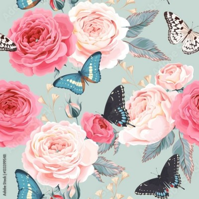 Obraz na Szkle Seamless peony roses and butterfly