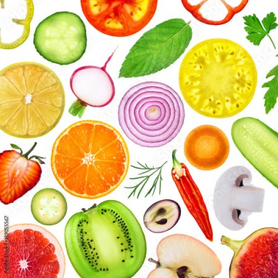 Fototapeta Fresh fruit and vegetables slices. Food background.