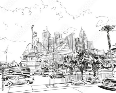 Fototapeta Las Vegas city hand drawn.USA. Nevada. Street sketch, vector illustration