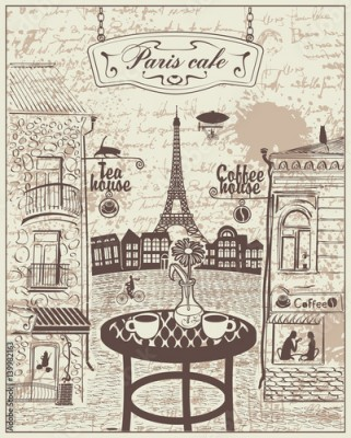 Fototapeta Parisian street cafe with views of the Eiffel Tower and old buildings on the background of the manuscript