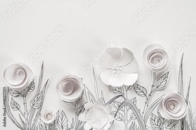 Fototapeta 3d paper flowers with painted leaves and stems on the white background