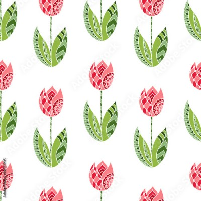 Fototapeta Seamless pattern with hand drawn ornamental tulip flowers on white background.