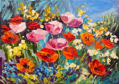 Obraz Oil painting of spring flowers on canvas, art work