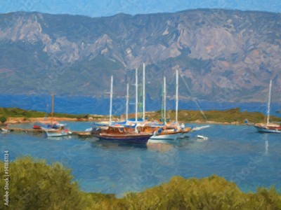 Obraz Oil painting. Sea, boats, yachts
