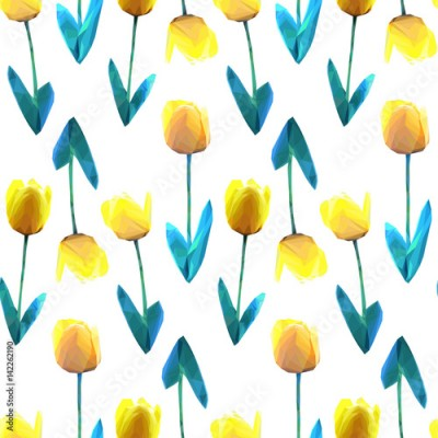 Fototapeta Beautiful yellow flower low poly concept illustration. Tulip seamless pattern. Low poly vector design pattern.