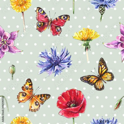 Panel Szklany Meadow flowers, butterflies, herbs. Seamless summer dot background, vintage style