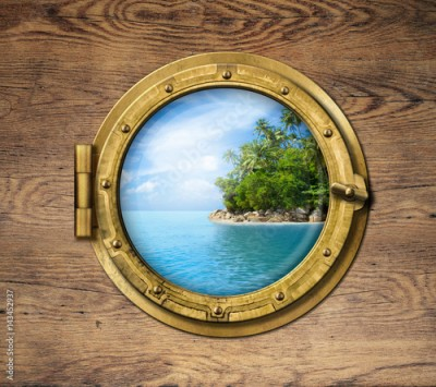 Fototapeta boat window or porthole with tropical island