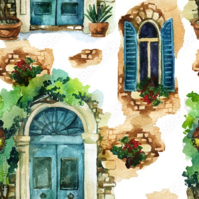 Fototapeta Watercolor traditional vintage windows and door seamless pattern