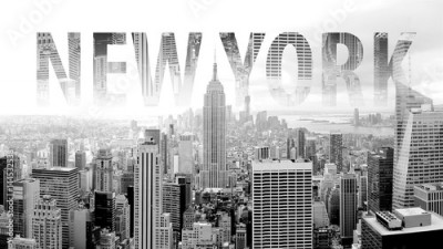 Fototapeta New York in black and white postcard with lettering