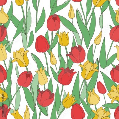 Fototapeta tulips seamless pattern, red & yellow
