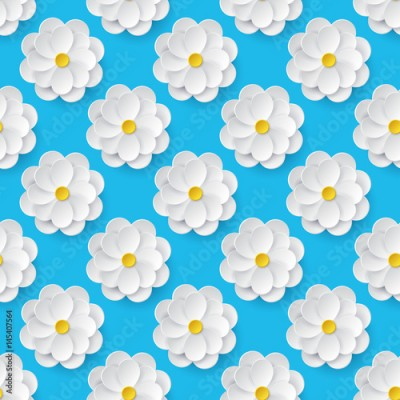 Obraz Seamless pattern with paper flowers.