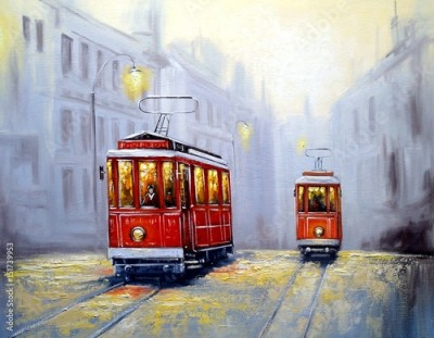 Obraz na Szkle Tram in old city, oil paintings landscape