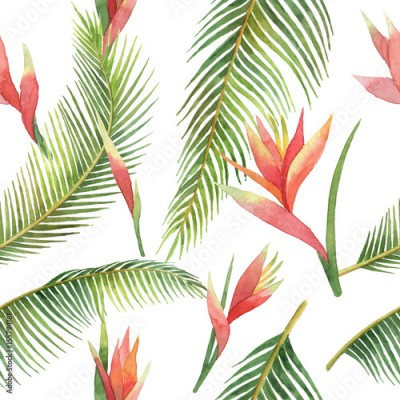 Fototapeta Watercolor seamless pattern of exotic flowers and jungle leaves isolated on white background.