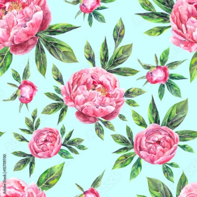 Obraz na Szkle Watercolor hand drawn vintage seamless pattern with peony flowers and leaves