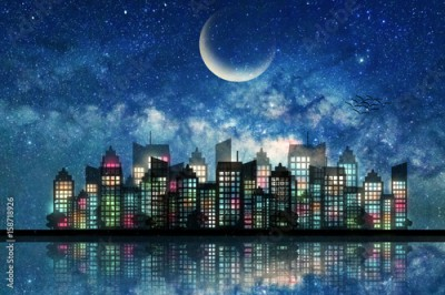 Obraz Silhouette of downtown city night light and moon on the starry sky