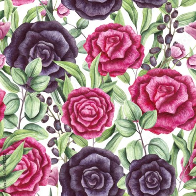 Obraz na Szkle Seamless Pattern of Watercolor Leaves, Pink and Black Roses