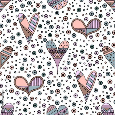 Fototapeta Vector hand drawn seamless pattern, decorative stylized childish hearts. Doodle style, tribal graphic illustration Cute hand drawing in vintage colors. Series of doodle, cartoon, sketch illustrations