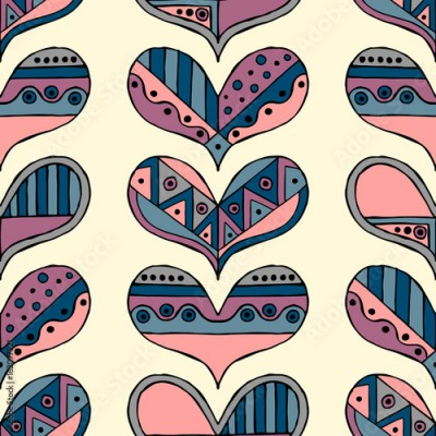 Fototapeta Vector hand drawn seamless pattern, decorative stylized childlike hearts. Doodle style, tribal graphic illustration Cute hand drawing in vintage colors. Series of doodle, cartoon, sketch illustrations