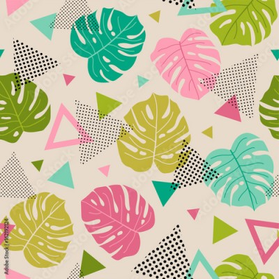 Fototapeta Colorful tropical leaf and triangle seamless pattern background