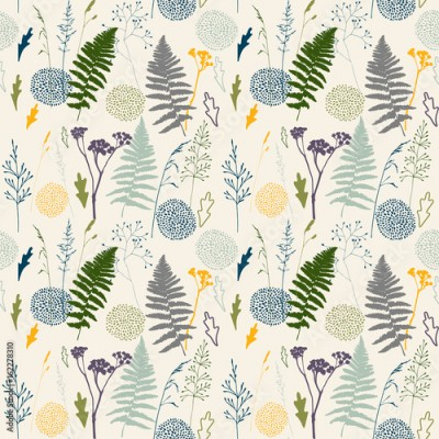Fototapeta Vector floral seamless pattern with wild meadow grasses, fern leaves and stylized flowers outlines .