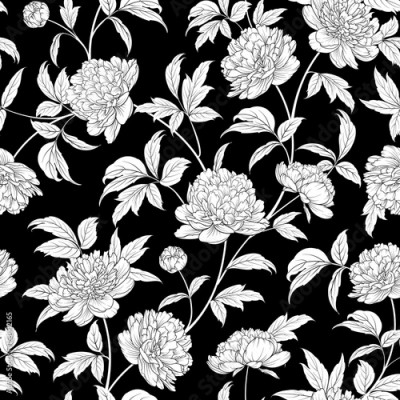 Obraz na Szkle Luxurious peony wallapaper in vintage style. Seamless floral pattern with blossom flowers. Vector illustration.