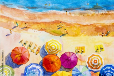 Plakat Painting watercolor seascape colorful of lovers, family vacation.