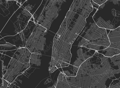 Fototapeta Vector black map of New york