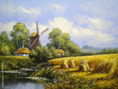 Plakat Windmill, village landscape. Oil paintings, canvas, art